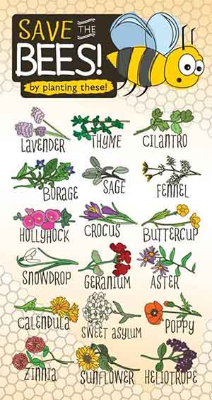Save the bees posters with various flowers to plant